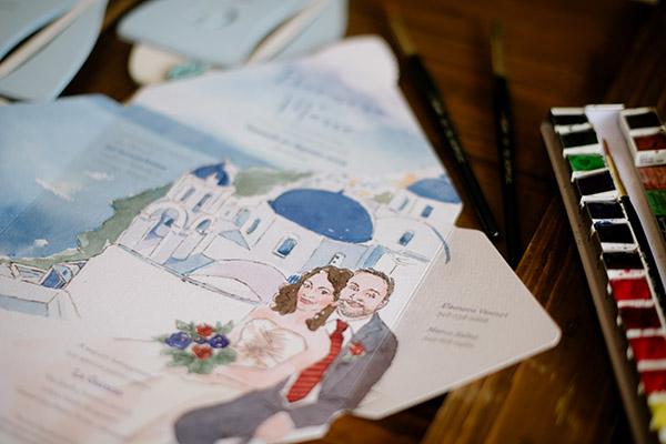 invito matrimonio con disegno fatto a mano