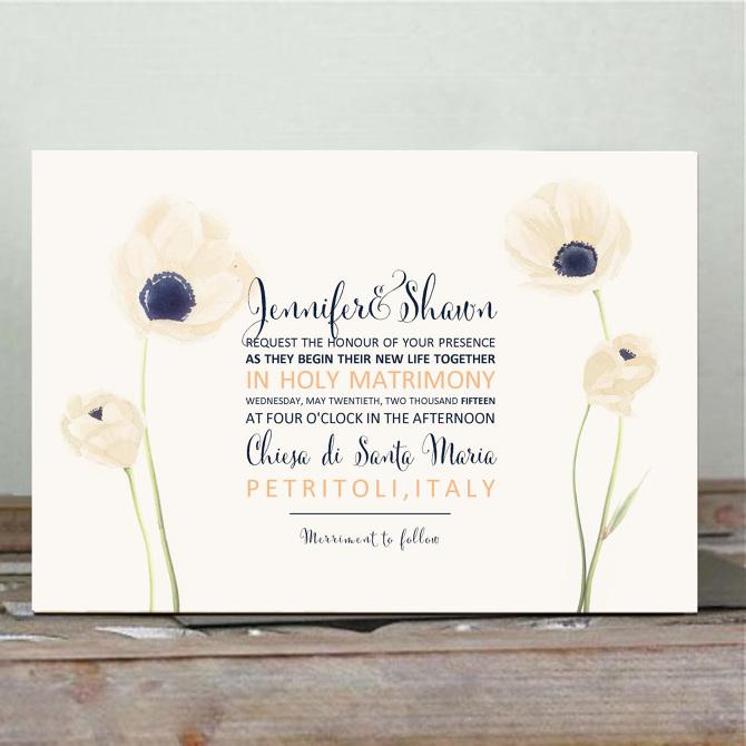 invito matrimoniale con anemoni