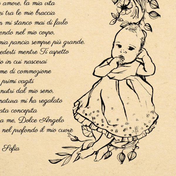 Baby illustrated favour poetry