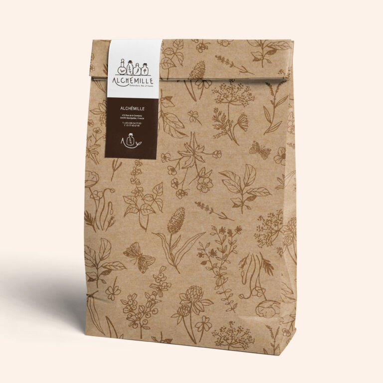 packaging with botanical pattern