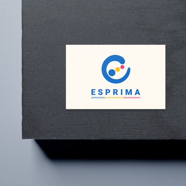 business card with colorful logo