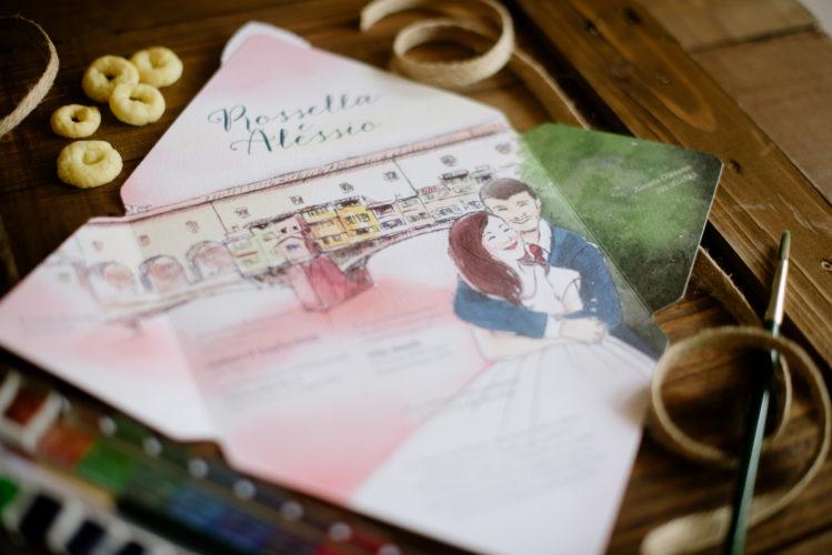 wedding invitation with watercolor