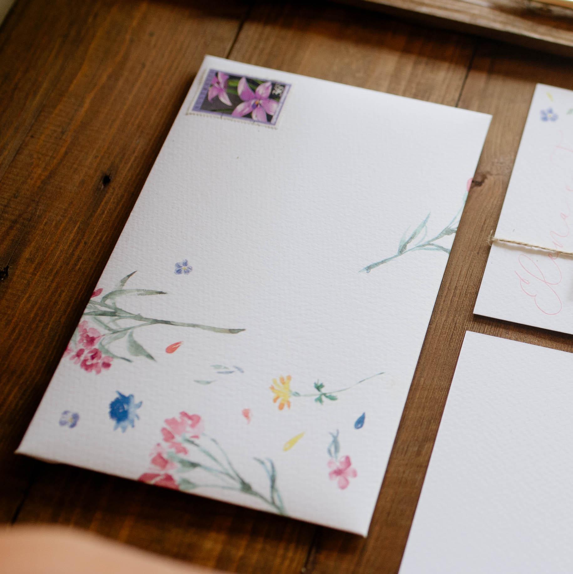 watercolor flowers on envelope