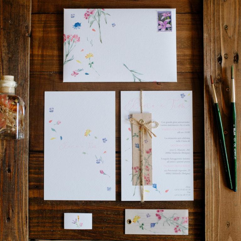 inviti matrimoniali tema floreale