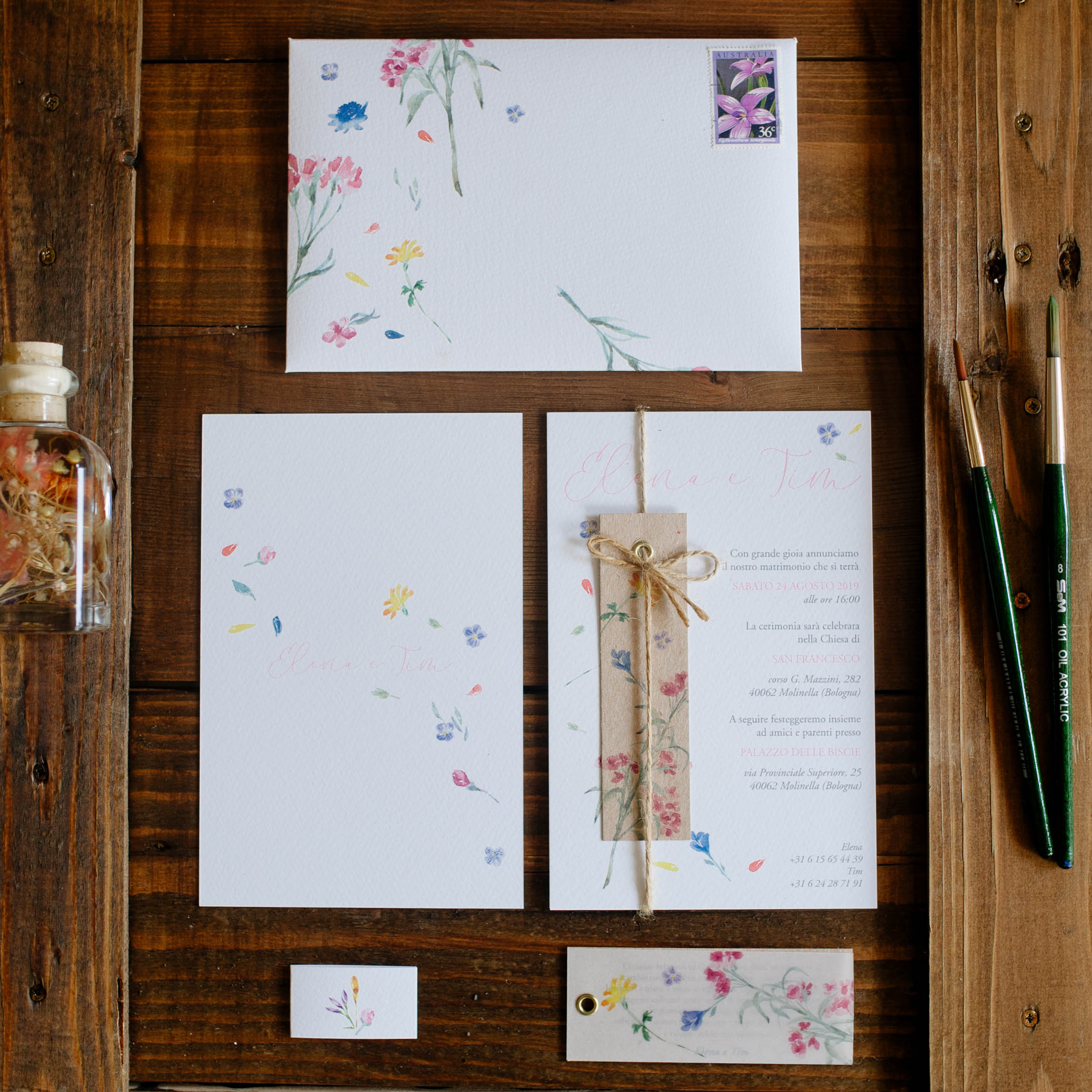 complete wedding suite with floral theme