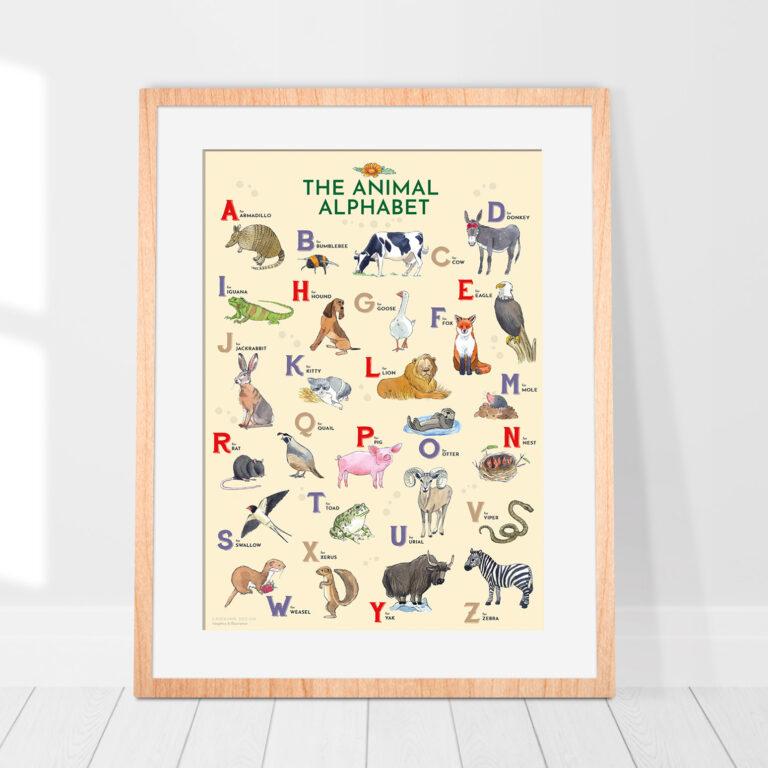 illustrazione incorniciata di animali