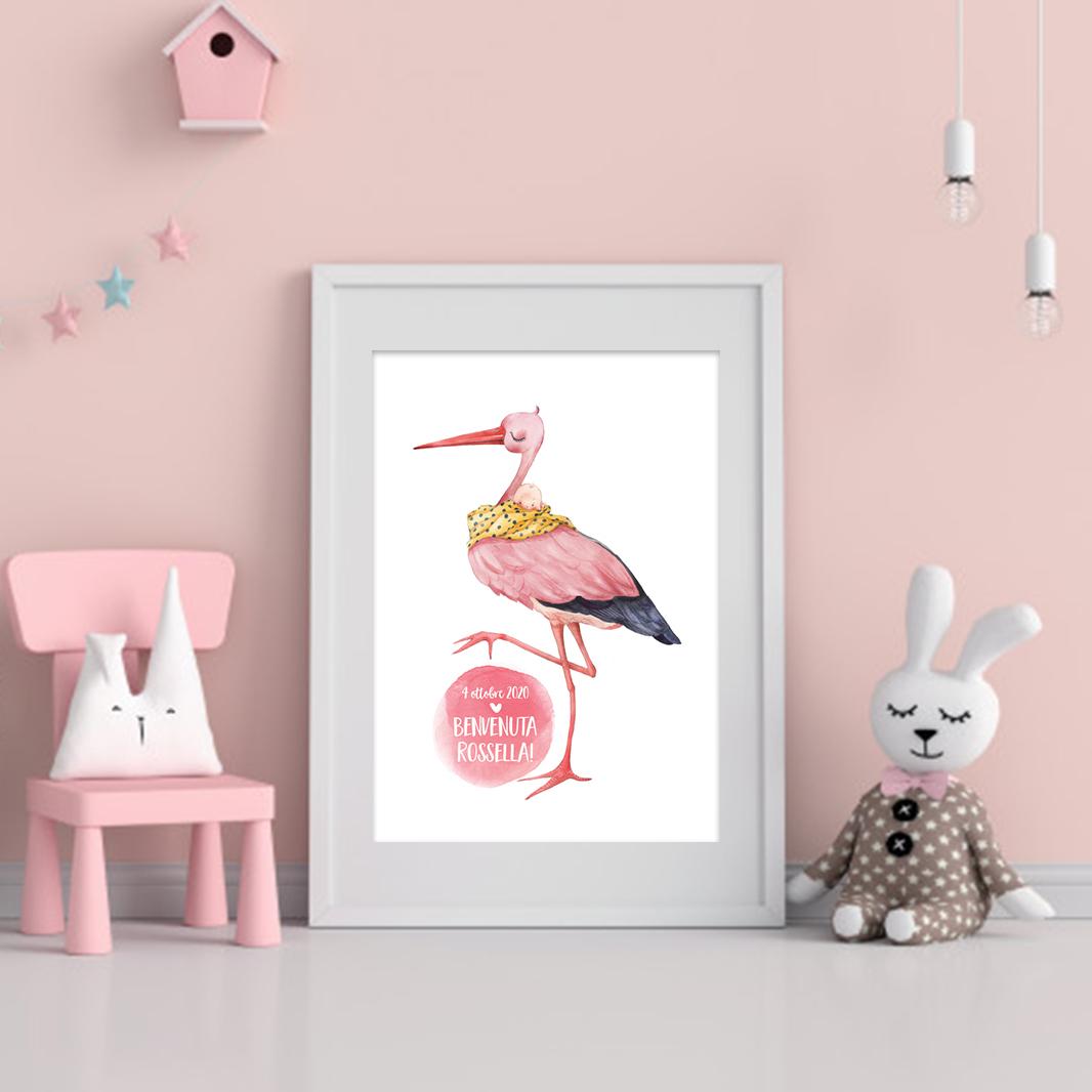baby girl stork print