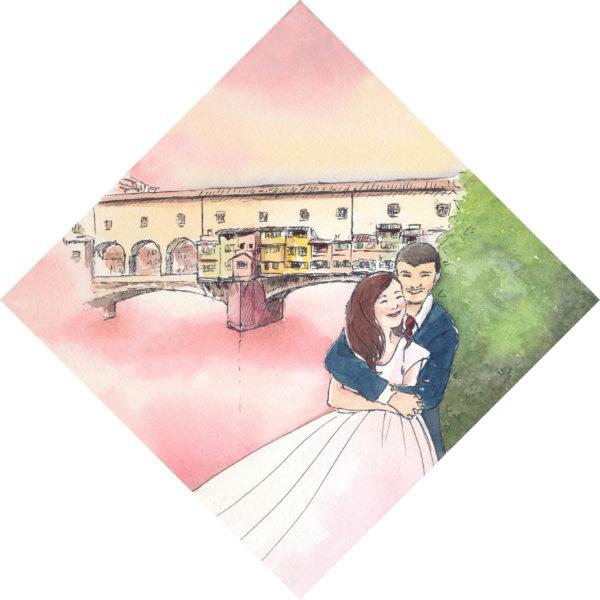 wedding watercolor of firenze
