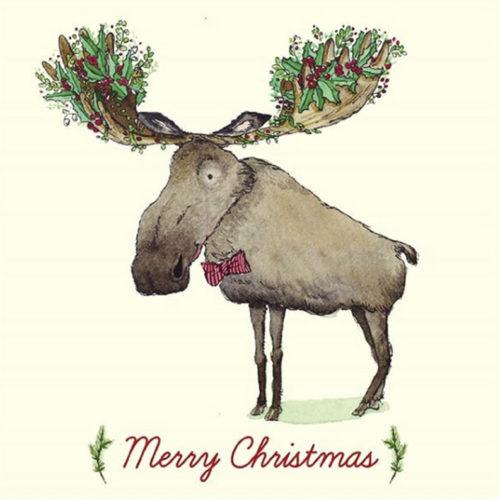 moose illustration for christmas
