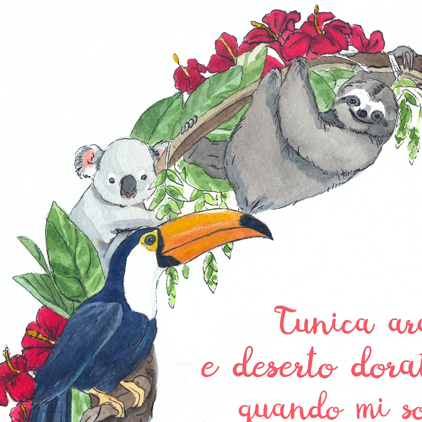 sloth and tucan watercolor detail