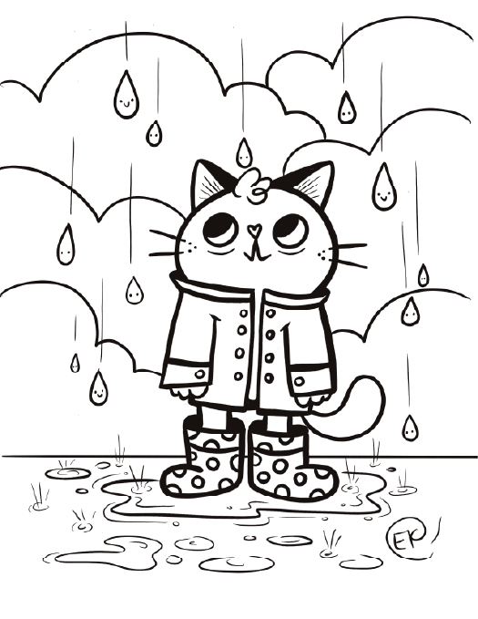 cat under rain drawing