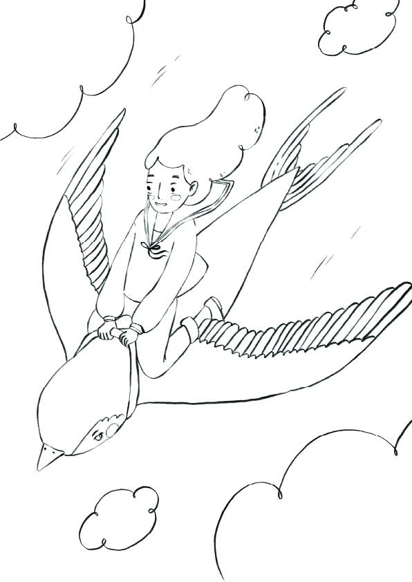 girl flying on a bird