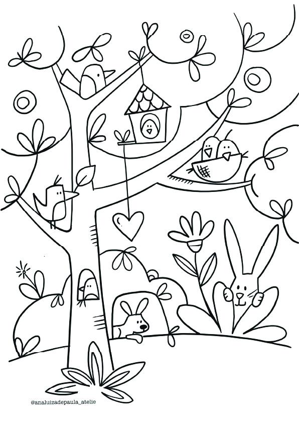 bird tree with houses