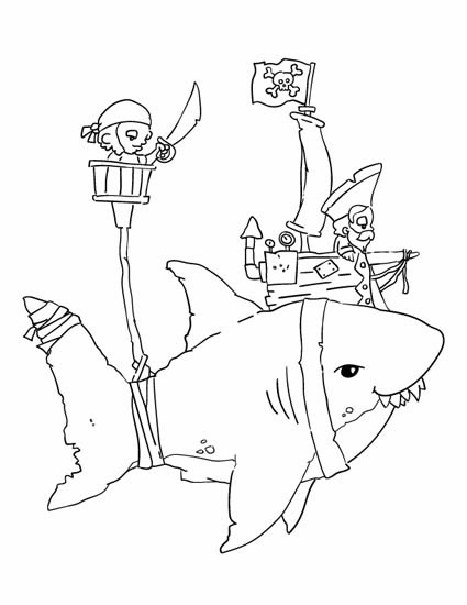 pirate and shark