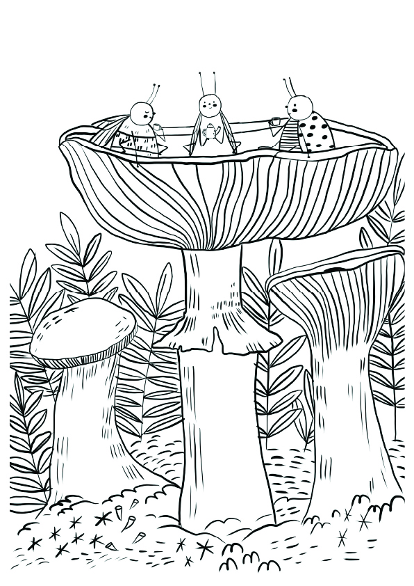 insects tea party drawing