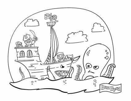 pirate vassel and octopus