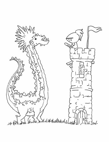dragon and knight on tower
