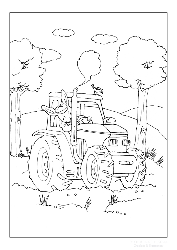 bunny on a tractor illustration