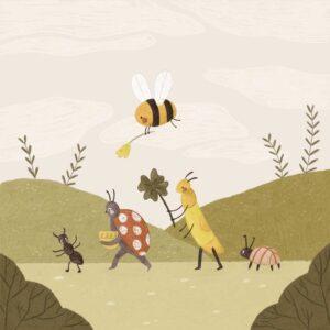 bee ants and ladybug drawing