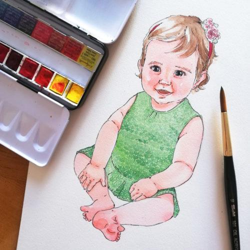 watercolor portrait toddler