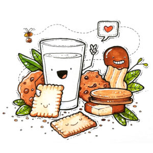 biscuits and milk drawing