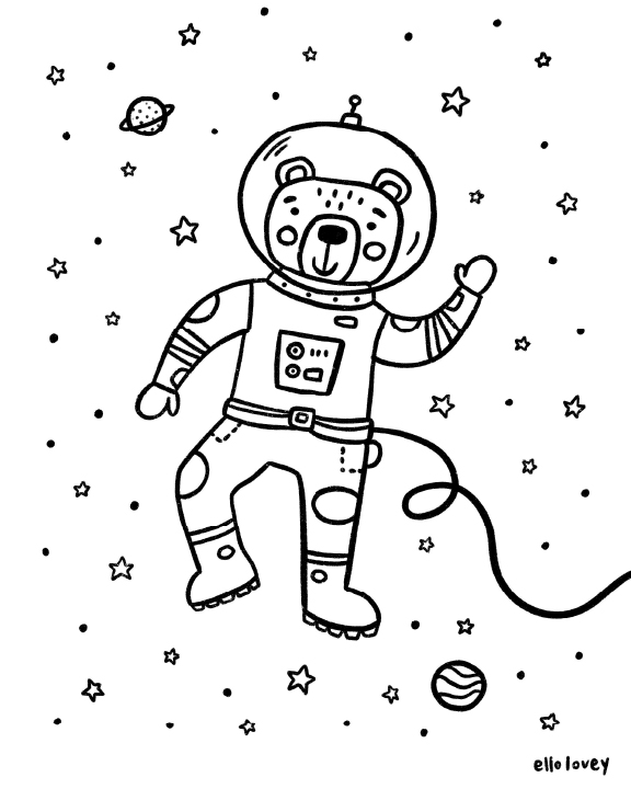 bear in space suit