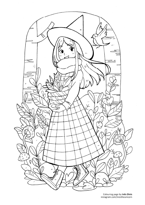little witch drawing