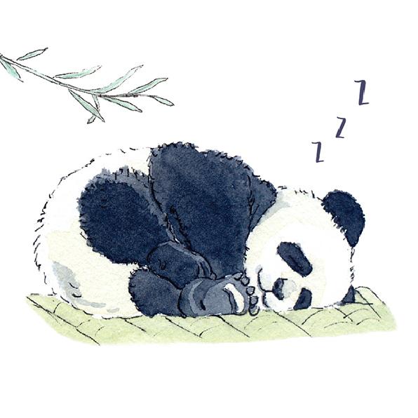 panda sleeping on bamboo mat