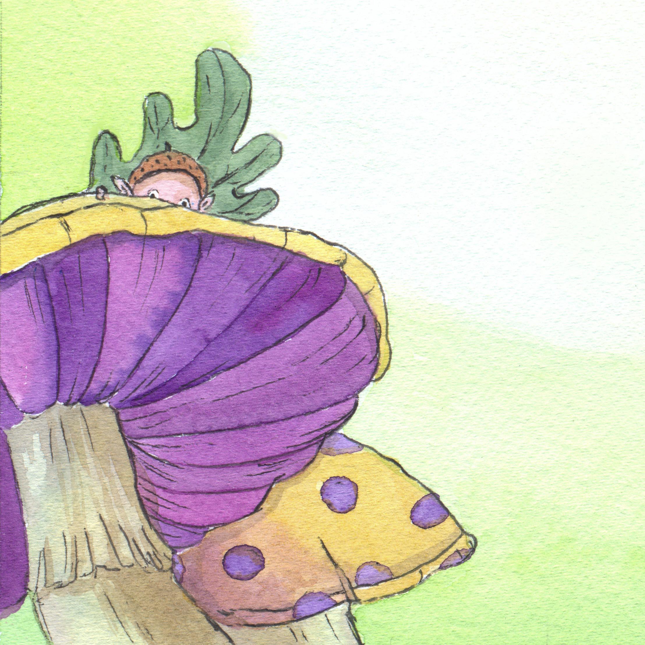 Mashroom and elf drawing detail