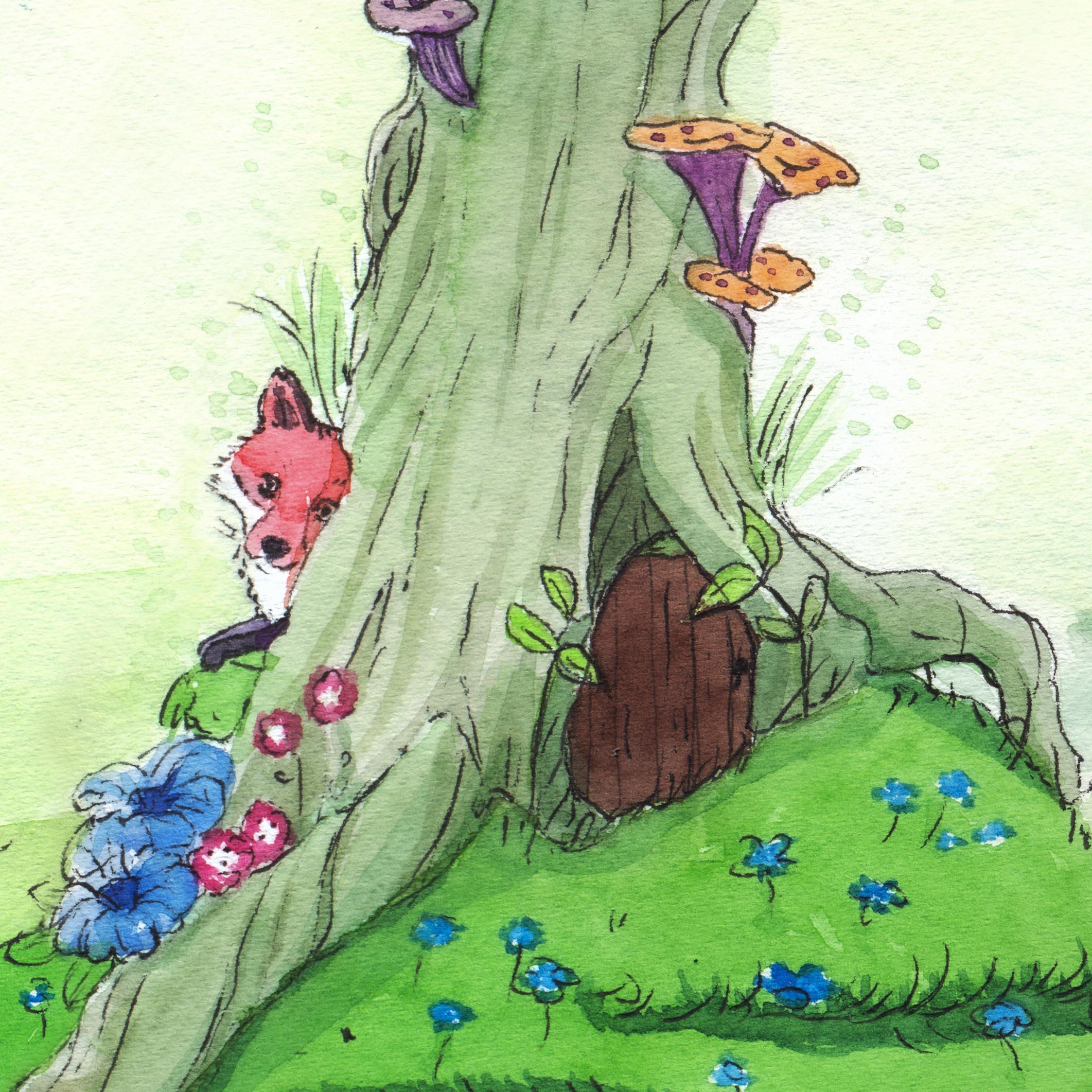 fox behind a tree