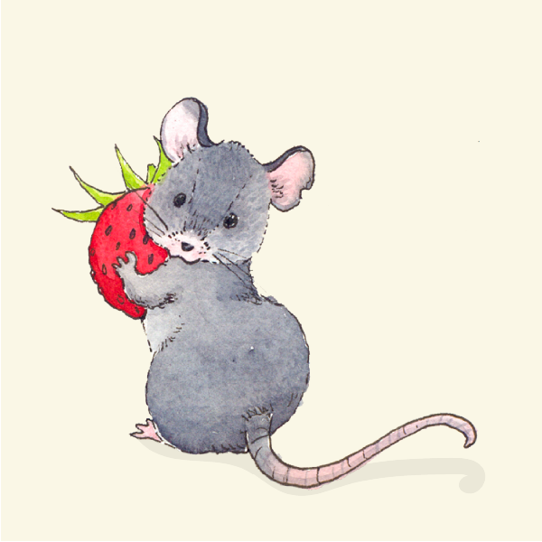 little mouse with strawberry