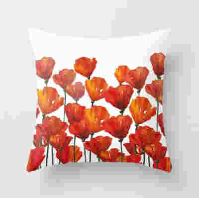 pillow with red poppies