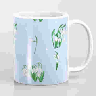 mug with white snowdrops