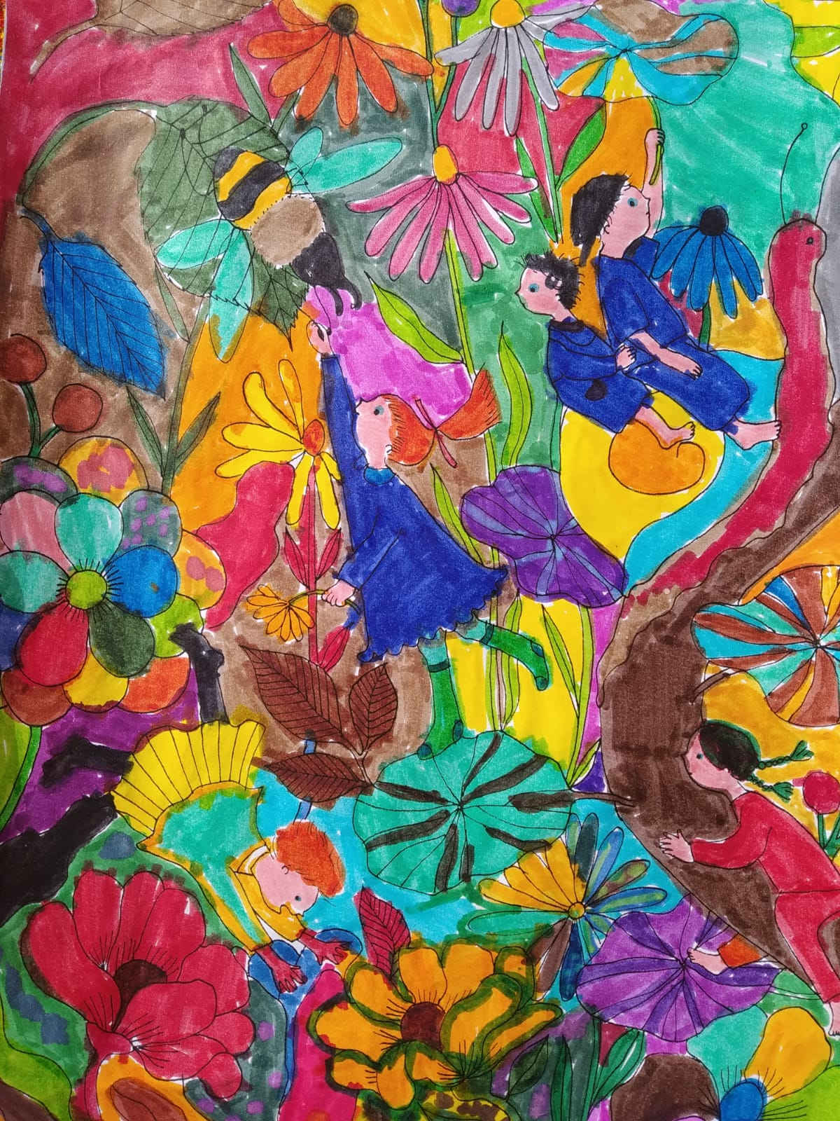 colored drawing by kids